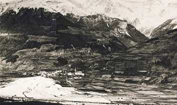 Matrei after the flooding of the Bretterwandbach - to the right, the unspoiled Pfarranger and the Lichtackerer Hof (ca. 1900)